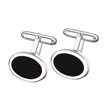 Sterling Silver Oval Black Onyx Cufflinks