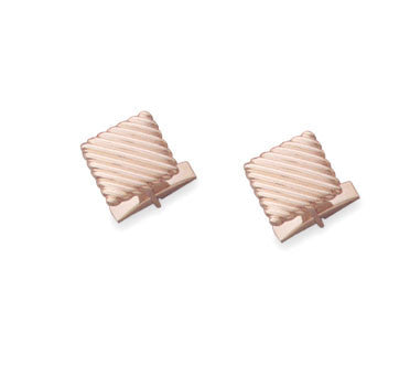18K Yellow Gold Square Puffed Slanted Ridge Cufflinks