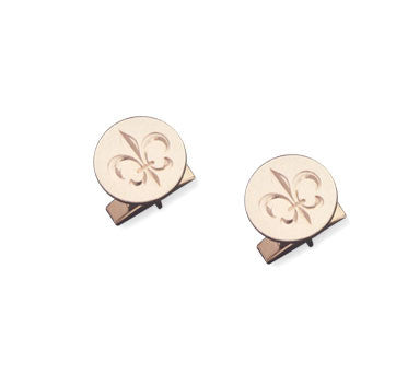 18K Yellow Gold Round Engraved Fleur De Lis Cufflinks
