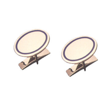 18K Yellow Gold Oval Cufflinks With Black Enamel Border