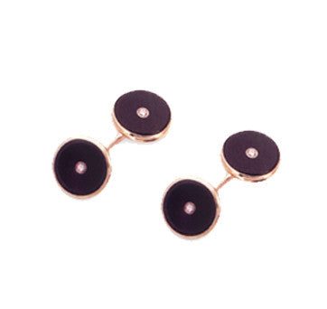 18K Yellow Gold Black Onyx And Diamond Circular Double-Sided Cufflinks