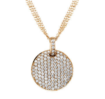 18K Pink Gold Diamond Pave Disk On 18K Pink Gold Triple Chain