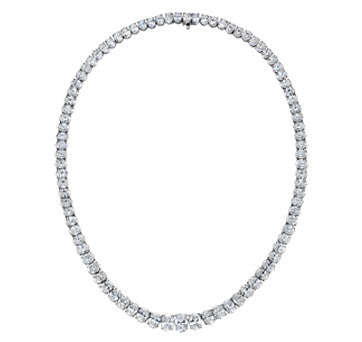 Platinum Oval Diamond Riviera Style Diamond Necklace