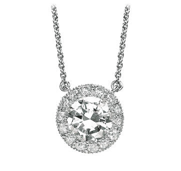 18K White Gold Diamond Pendant Surround By Diamonds