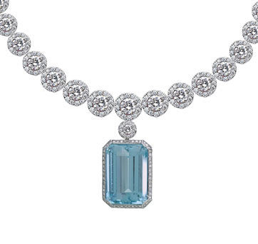 18K White Gold Diamond Cluster Graduated Necklace With Diamond And Aqua Marine Chandelier Enhancer