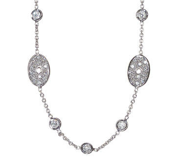 18K White Gold Diamonds-By-The-Yard Necklace With Pave Diamond Oval Sections