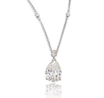 18K White Gold Pear Shape Diamond Pendant On Diamonds-By-The-Yard Chain