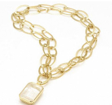 18K Emerald Cut White Topaz Pendant On Crown-Style Oval Loop Chain By Ray Griffiths