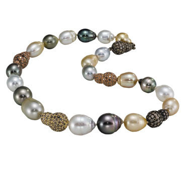 South Sea And Tahitian Baroque Pearl Necklace With 18K Gold Champagne Diamond Rondels