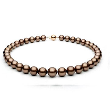 Chocolate Tahitian Pearl Necklace With Diamond Etoile Clasp