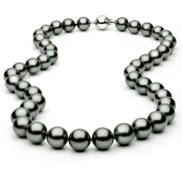 Long Tahitian Pearl Necklace With Diamond Etoile Clasp