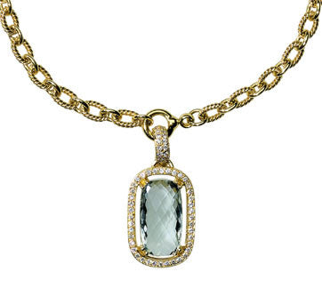 18K Yellow Gold Green Amethyst Drop Pendant Surrounded By Diamonds