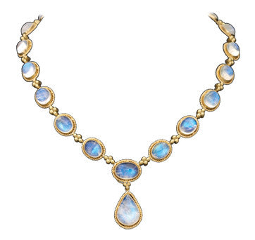 18K Brushed Yellow Gold Cabochon Bezel Set Moonstone Necklace With Diamond Accents