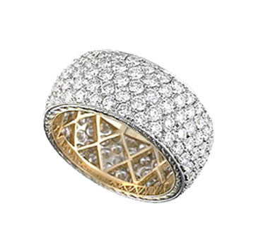 Platinum And 18K Yellow Gold Wide Diamond Pave Wedding Band