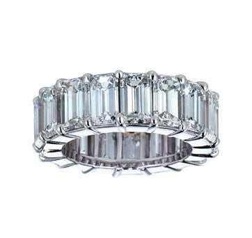 Platinum Emerald Cut Eternity Diamond Band