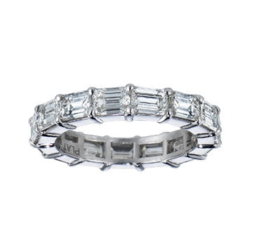 Platinum Emerald Cut Eternity Diamond Band With Stones Touching Head To Toe