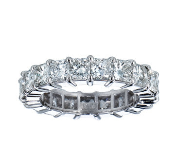 Platinum Princess Cut Eternity Diamond Band