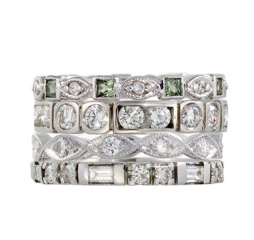 White Gold Stackable Diamond Bands