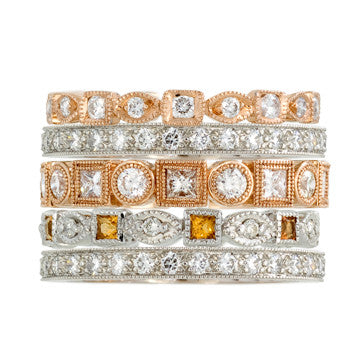 Coast Diamond White And Pink Gold Stackable Diamond Bands