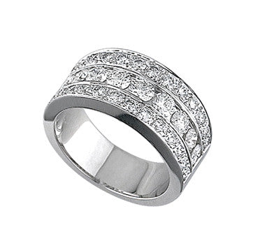 Coast Diamond 18K White Gold Triple Row Diamond Band
