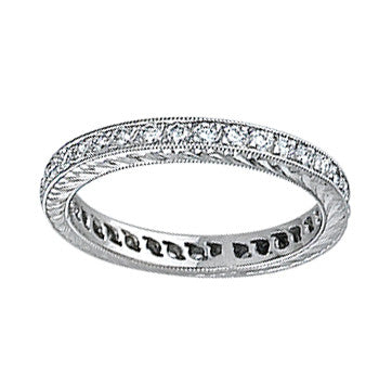 Coast Diamond Platinum Bead-Set Engraved Eternity Diamond Band