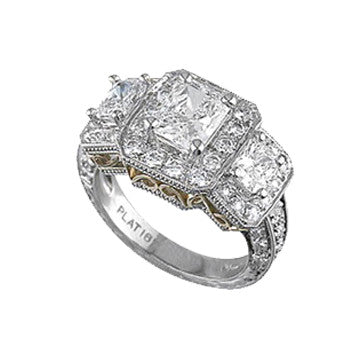Platinum And 18K Yellow Gold 3-Stone Radiant Diamond Ring Surrounded By Diamonds