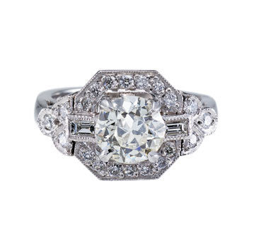 Platinum Estate Style Diamond Engagement Ring With Round Brilliant Cut Center