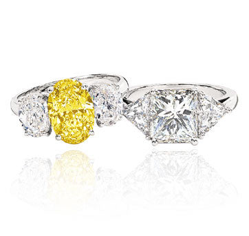 Platinum 3-Stone Diamond Ring With Fancy Intense Yellow Canary Diamond And Platinum Radiant Diamond Ring With Trilliants
