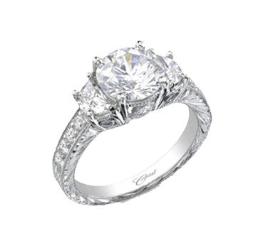 Coast Diamond Platinum Round Brilliant Diamond Flanked By Half Moons With Engraved Diamond Shank