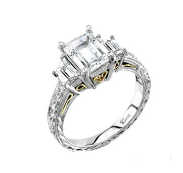 Coast Diamond Platinum Emerald Cut Diamond Flanked By Trapezoids With Engraved Diamond Shank