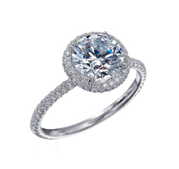 Platinum Round Brilliant Diamond In Micro-Pave Setting