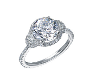 Platinum Round Brilliant Diamond In Micro-Pave Setting With Half Moons
