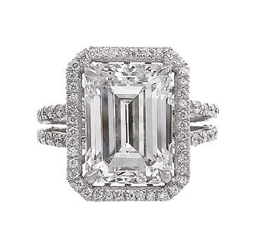Platinum Emerald Cut Diamond Set In Diamond Pave Mounting With Split Shank