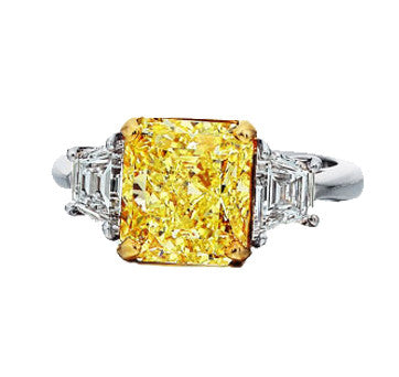 Platinum Fancy Intense Canary Diamond Ring With Trapezoid Side Stones