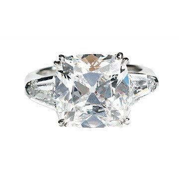 Platinum Antique Cushion Cut Diamond With Diamond Shield Side Stones