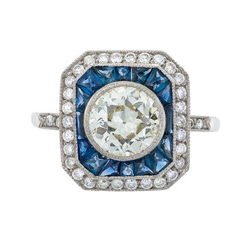 Platinum Diamond And Sapphire Vintage Style Ring