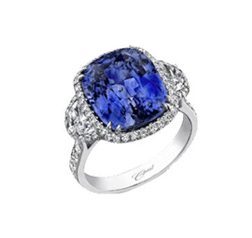 Coast Diamond Platinum Cushion Cut Sapphire And Diamond Side Stone Ring