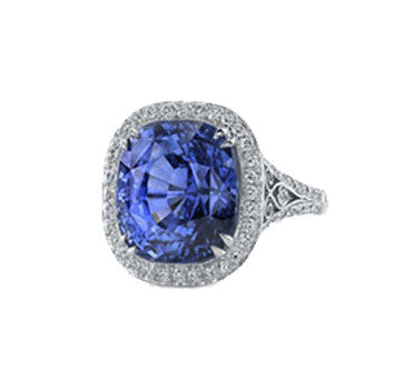 Coast Diamond Platinum Cushion Cut Sapphire And Diamond Ring