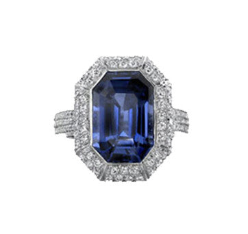 Platinum Emerald Cut Sapphire And Diamond Ring With Micro-Pave Setting