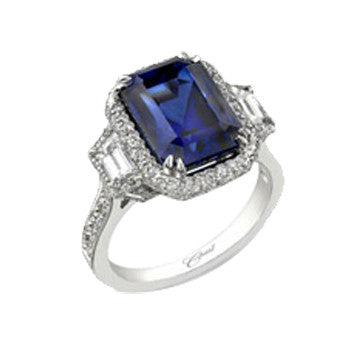 Coast Diamond Platinum Emerald Cut Sapphire And Diamond Side Stone Ring With Micro-Pave Setting
