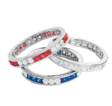 Platinum Channel Set Engraved Diamond, Sapphire And Ruby Bands