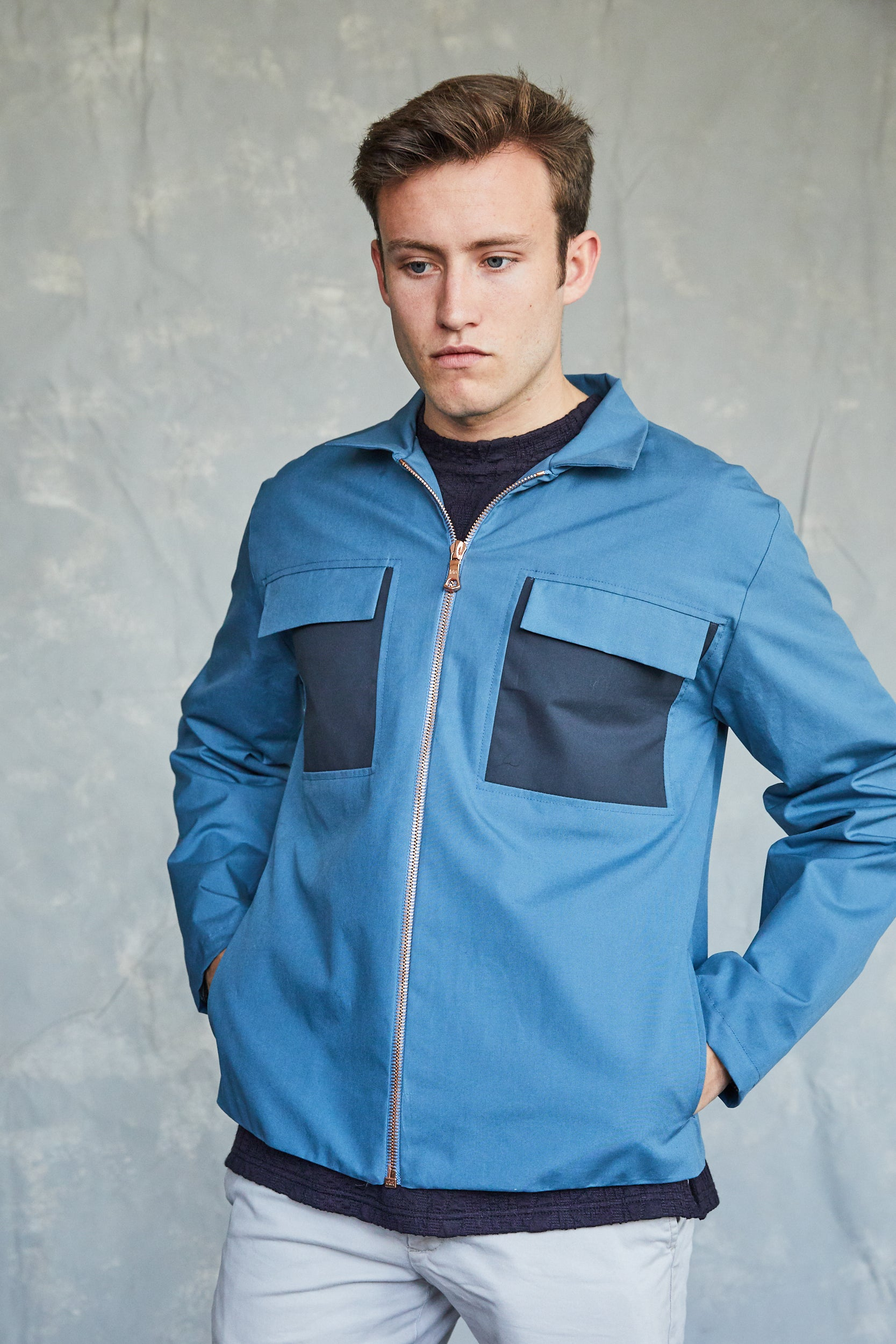 Waxed Zipper Coach Jacket - Blue