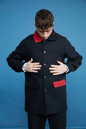 Alpaca Wool Trench - Navy