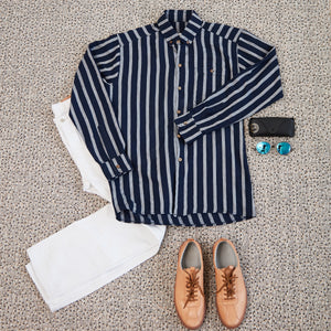 Japanese Cotton Striped Oxford - Navy/Grey