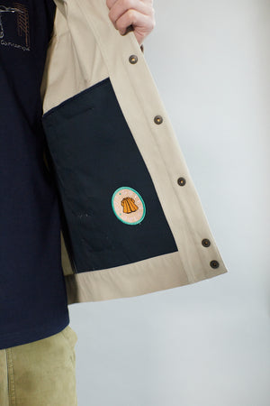 Canvas Overshirt | Stone WIth Navy Collar