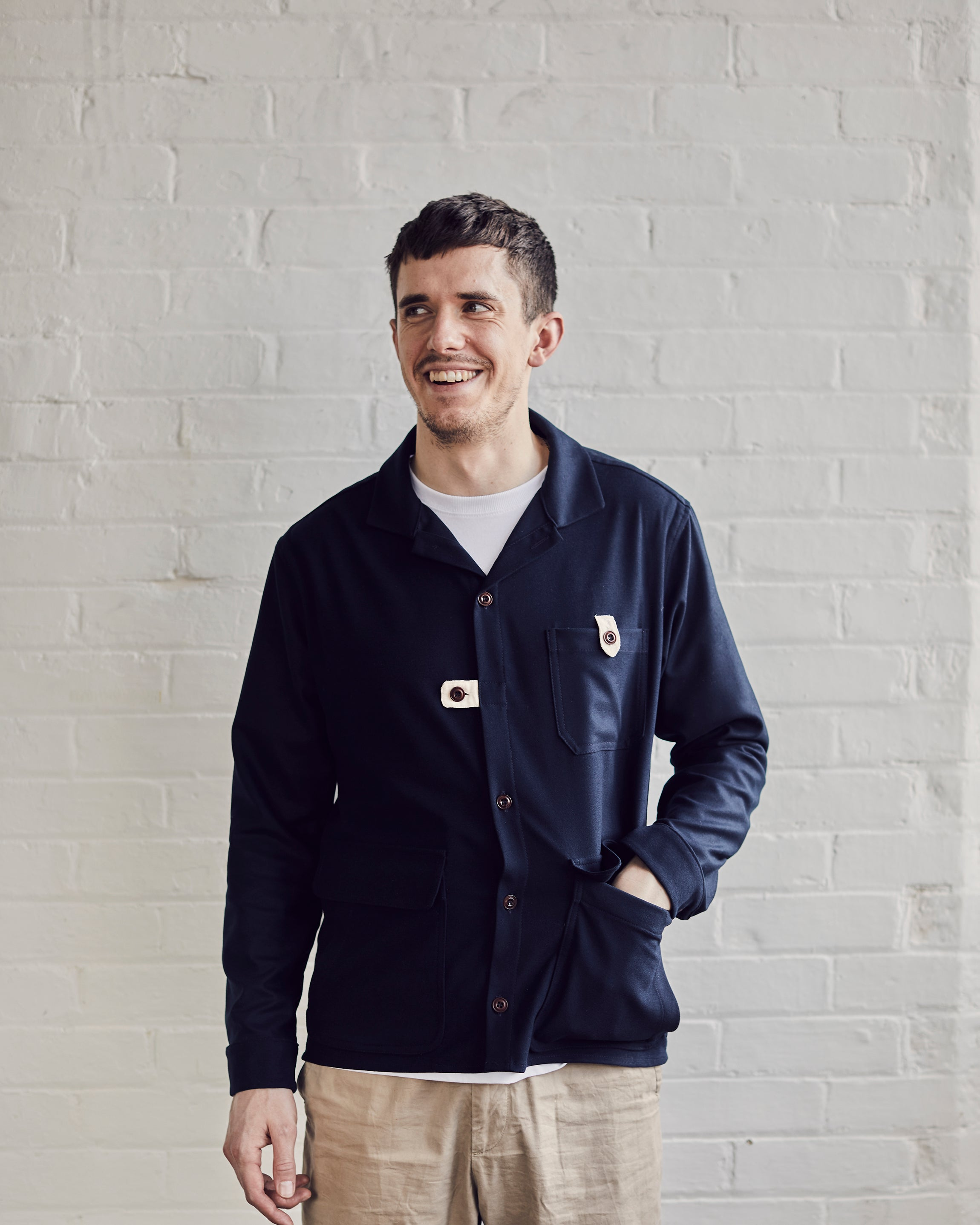 Brushed Worker Overshirt | Navy