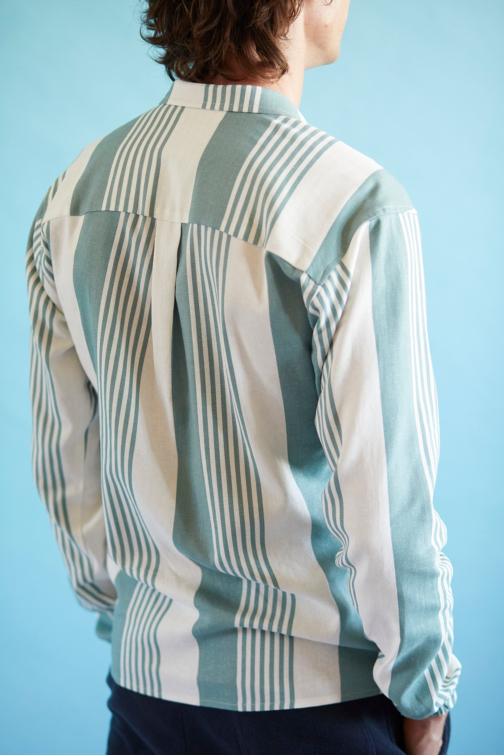 Linen Overshirt - Mint Green Stripe