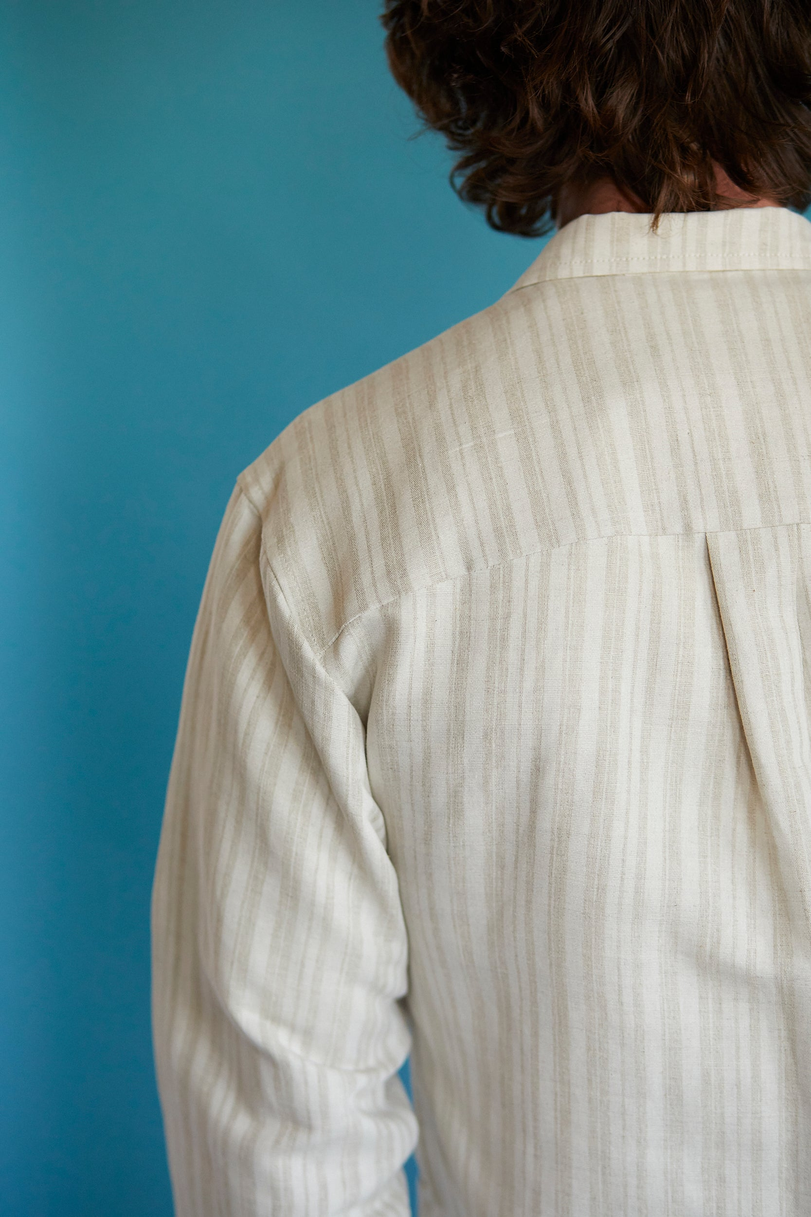 Linen Overshirt - Coffee Stripe