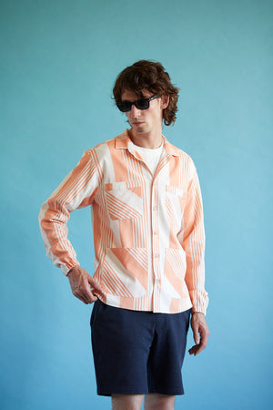 Linen Overshirt - Orange Stripe