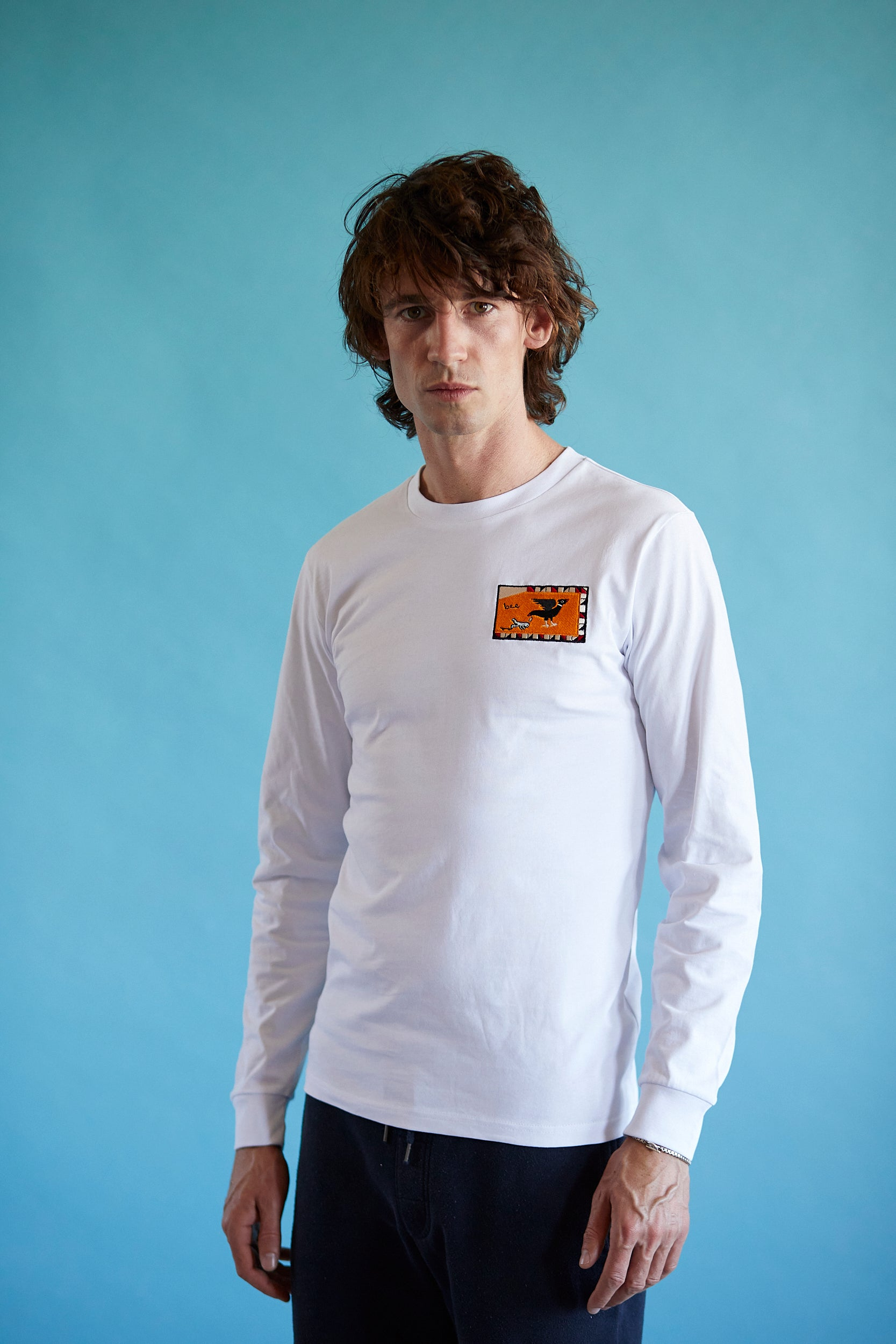 Long Sleeve T Shirt - Flag - White
